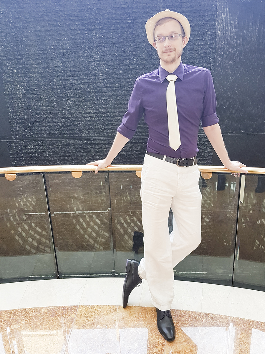 This Guy Ah high tea outfit: G2000 purple shirt, John Master reversible tie, Rad Russel Lace Up Derbies.