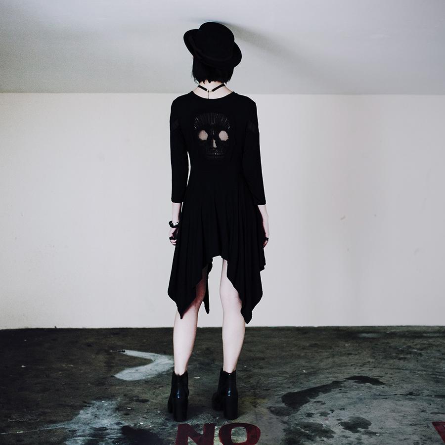 Teenage Angst Halloween Outfit: Dresslily black skull dress, Dresslily eye bracelets necklace, Dresslily rings, Rubi heeled boots.