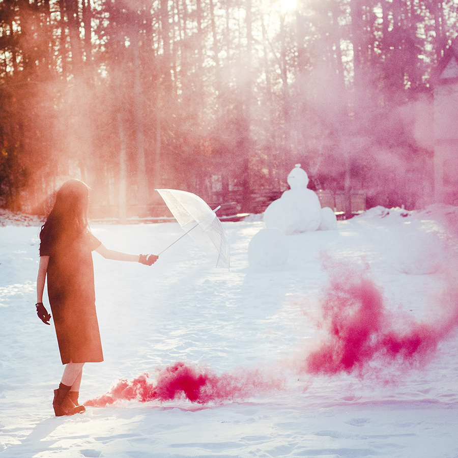 Winter Plumes: Red Enola Gaye smoke bomb in the snow photoshoot.