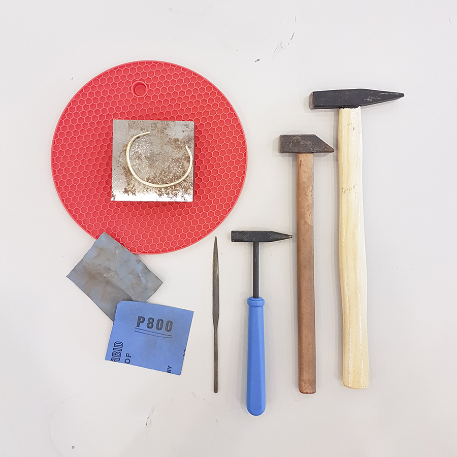 Tools used to create my custom textured brass cuff by Fat Anvil Studios.