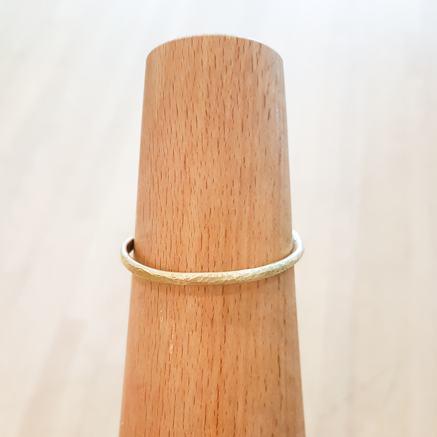 Completed textured brass cuff.