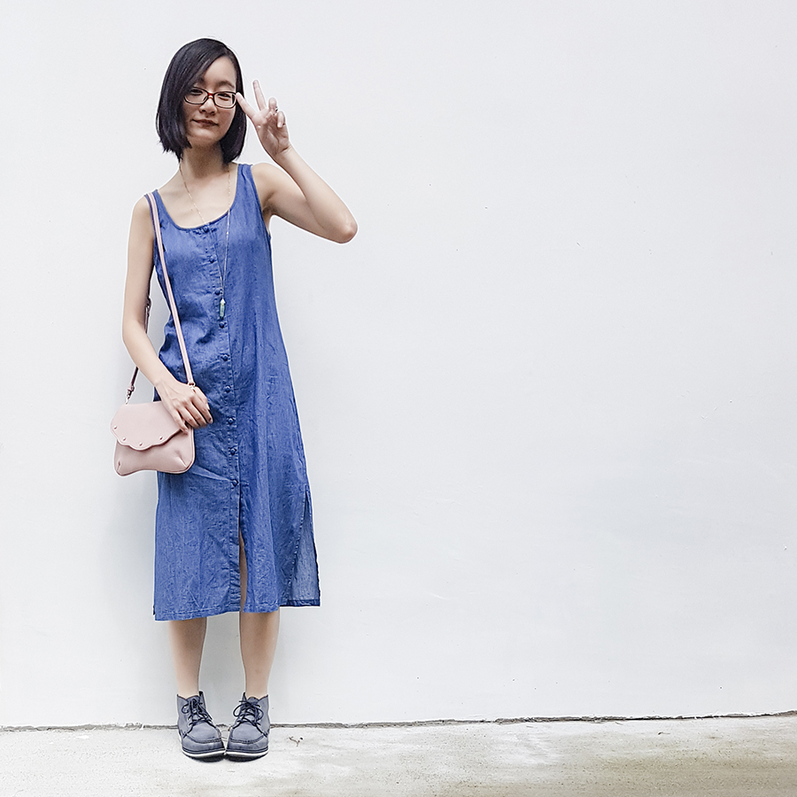 Day off outfit: Zalora denim dress, Velvet pink scallop handbag, Firmoo red glasses, Timberland blue boots.