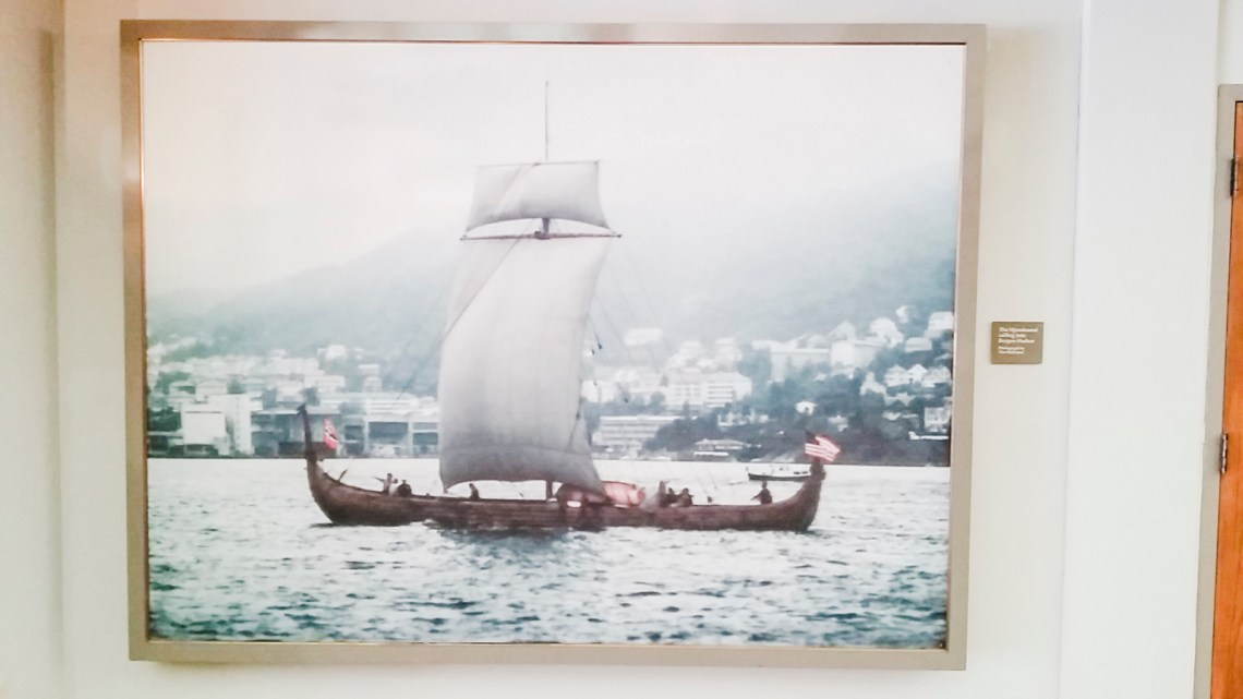 Photograph of the Hjemkomst on the waters in a museum in Moorhead, Minnesota.