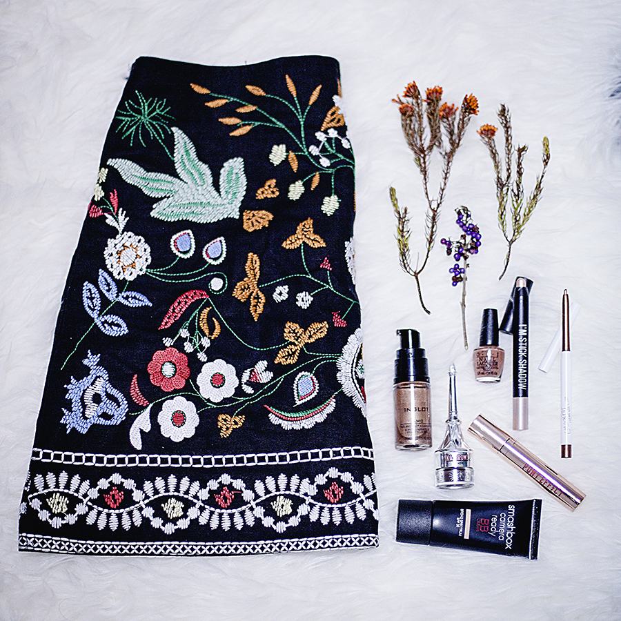 Shein embroidered skirt, Inglot Face & Body Illuminator, OPI nail polish, Smashbox Camera Ready BB Cream, Benefit Ka-Brow! eyebrow liner, I'm Stick Shadow highlight pen, ColourPop Creme Gel Liner, Pony Effect Favorite Fluid Lip Tint.