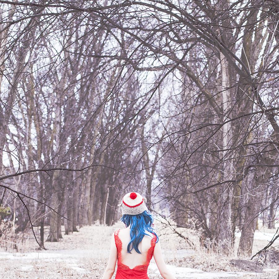 Sock puppet knit hat, Blue wig, Banggood red lace mermaid dress.