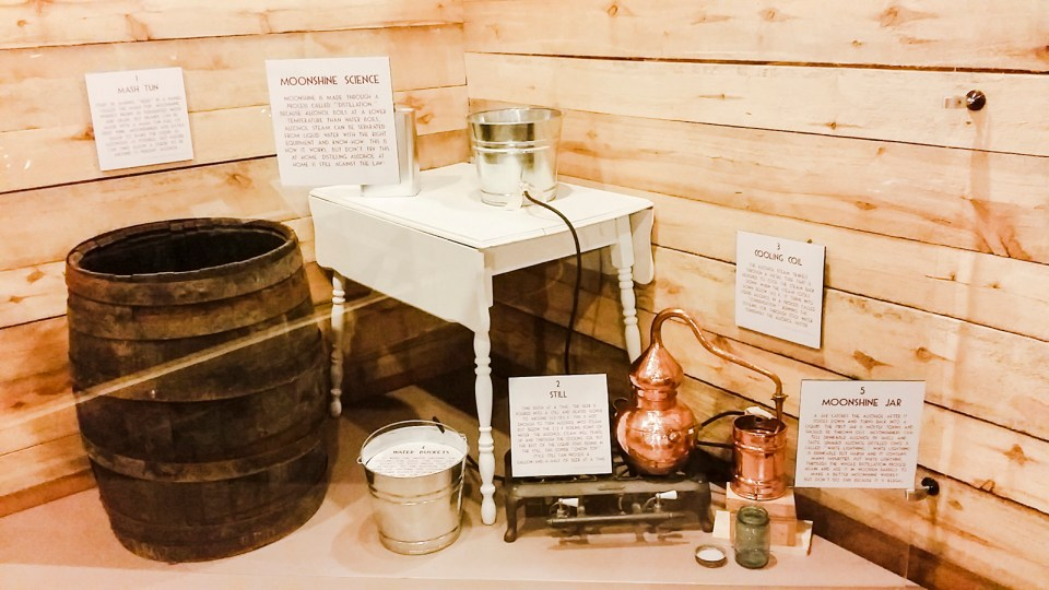 Tools to make Moonshine at an exhibition on the Prohibition in the USA.