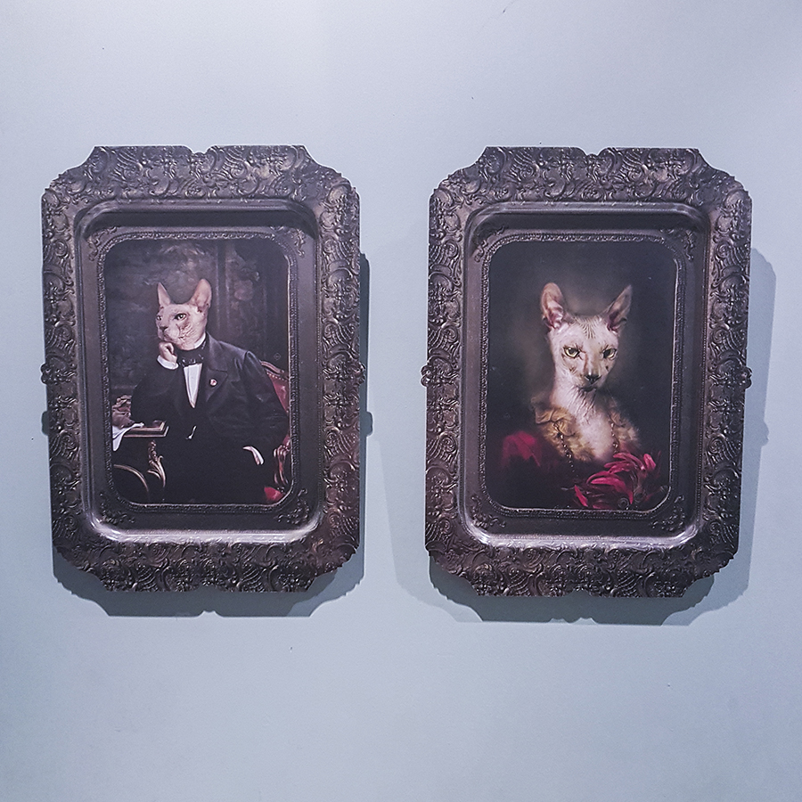 Anthropomorphic animal portraits at Oxwell & Co, Singapore.