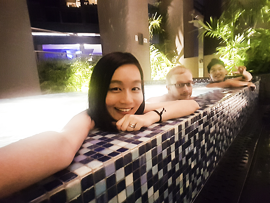 Chilling at a jets pool at Skysuites @ Anson, Singapore.