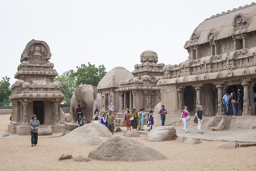 Tourists at 5 Rathas Mahabalipuran Chennai India.