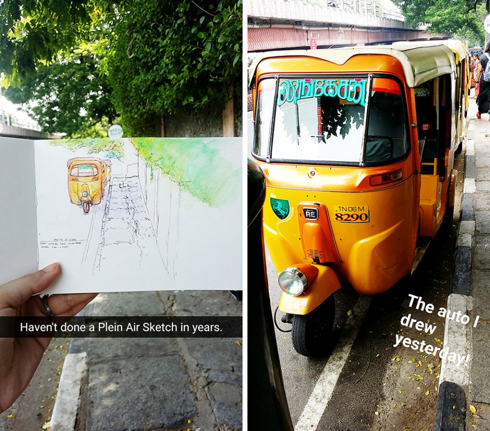 Watercolor sketch of an Auto at Chennai, India.