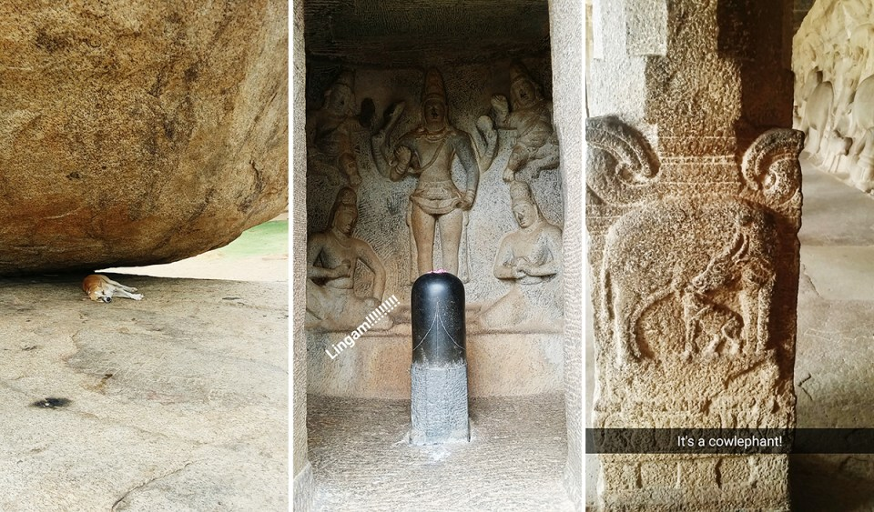 Sights at the Mahabalipuram: Dog lying underneath Krishna's Butterball, Lingam, Cow-elephant carving on a pillar.