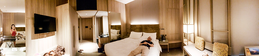 Panorama of Orchid Club Double Room at hotel PARKROYAL on Pickering, Singapore.