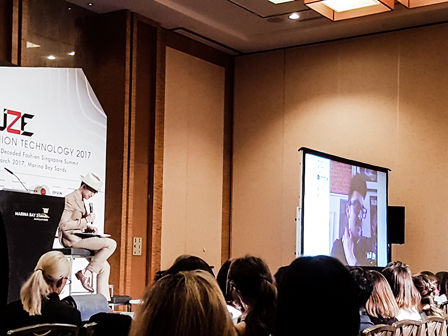 Henry Holland from House of Holland via Skype interview moderated by Norman Tan from BURO 24/7 Singapore at FUZE2017 at Marina Bay Sands.