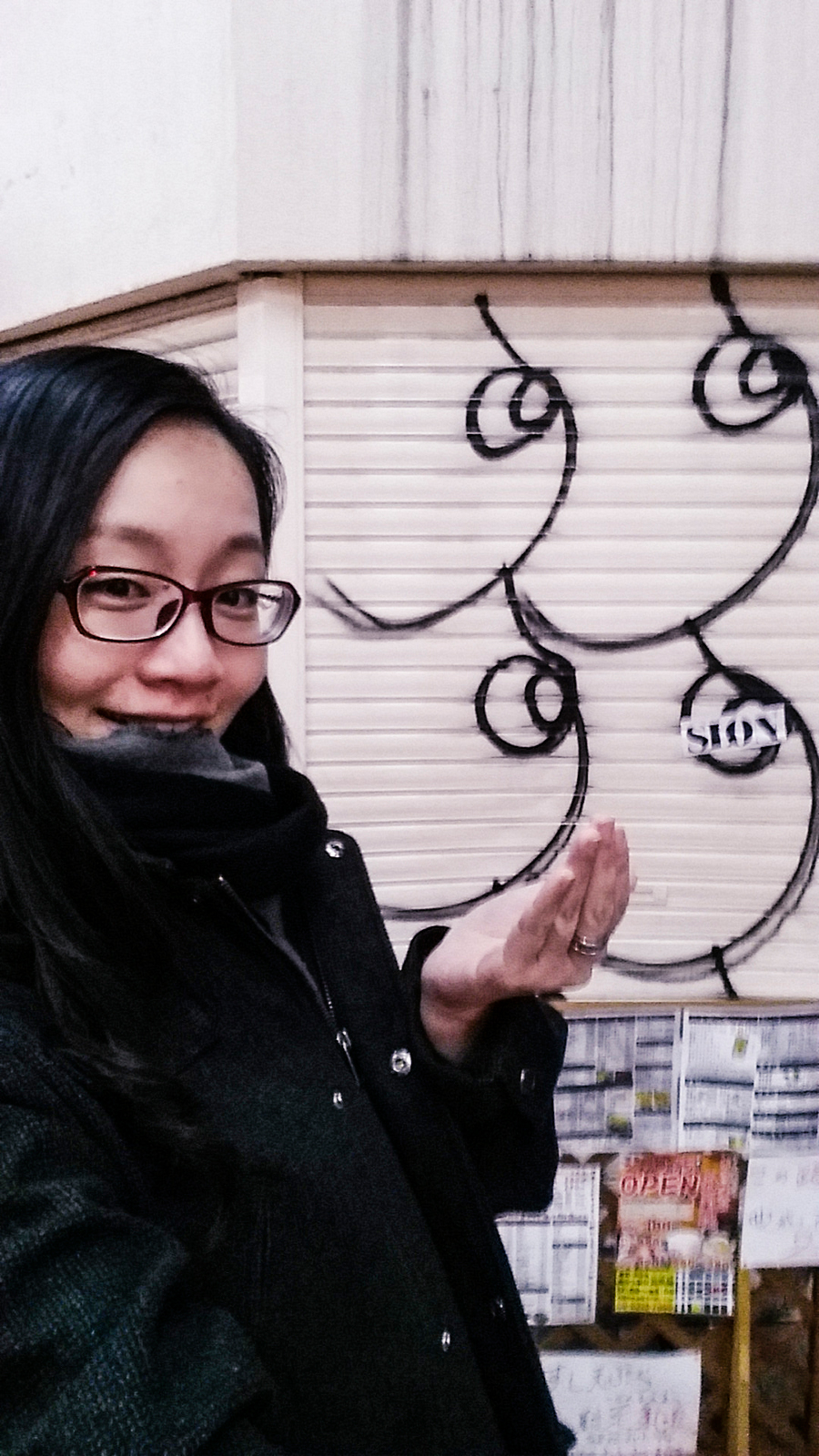 Selfie with a shutter illustrated with boobs in Osaka, Japan.
