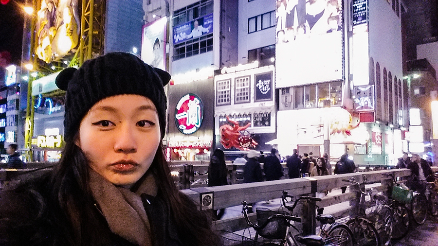 Selfie wearing my cat beanie at Dotonbori, Osaka, Japan.