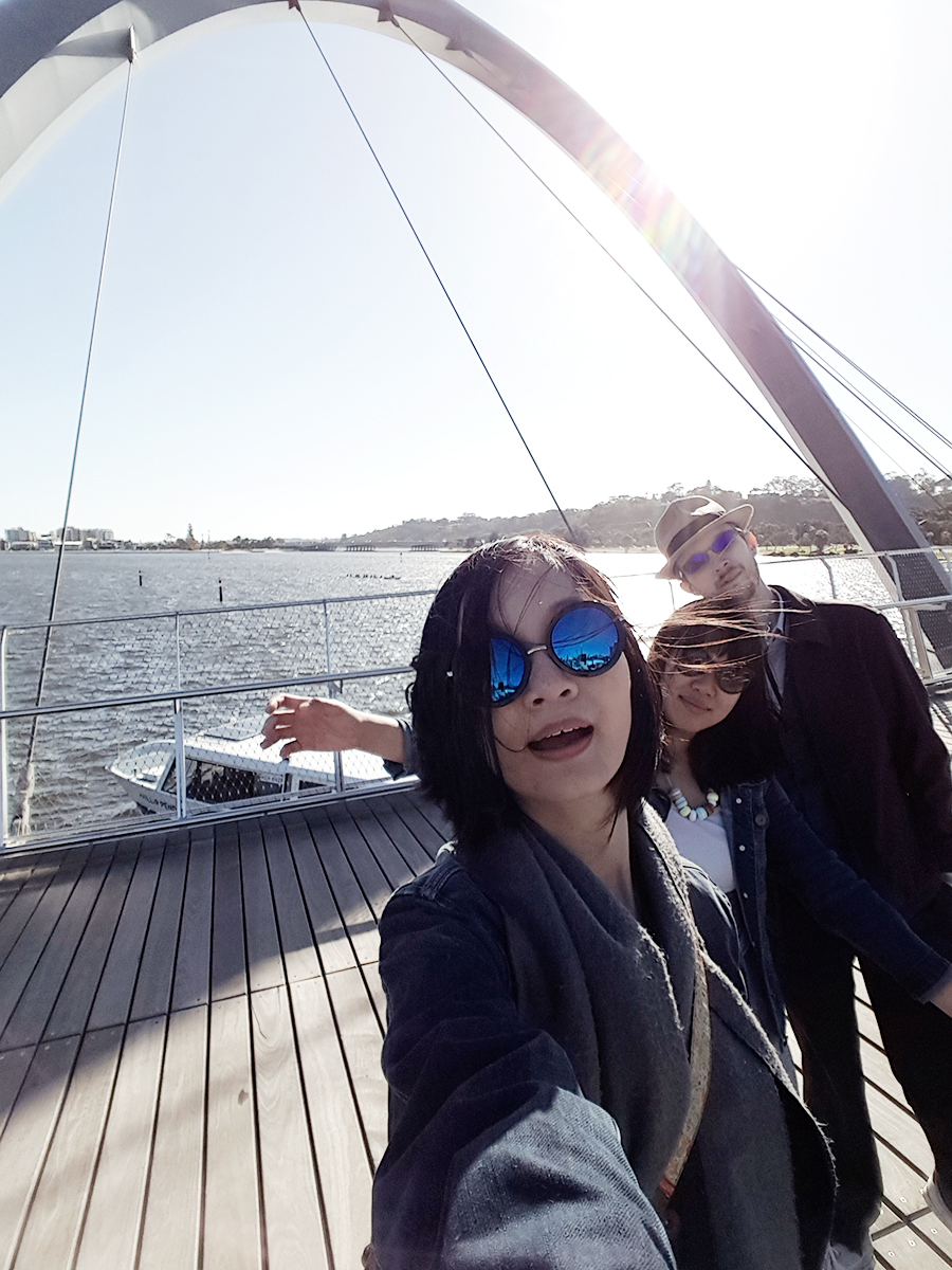 Backlit wefie at Elizabeth Quay in Perth Australia.