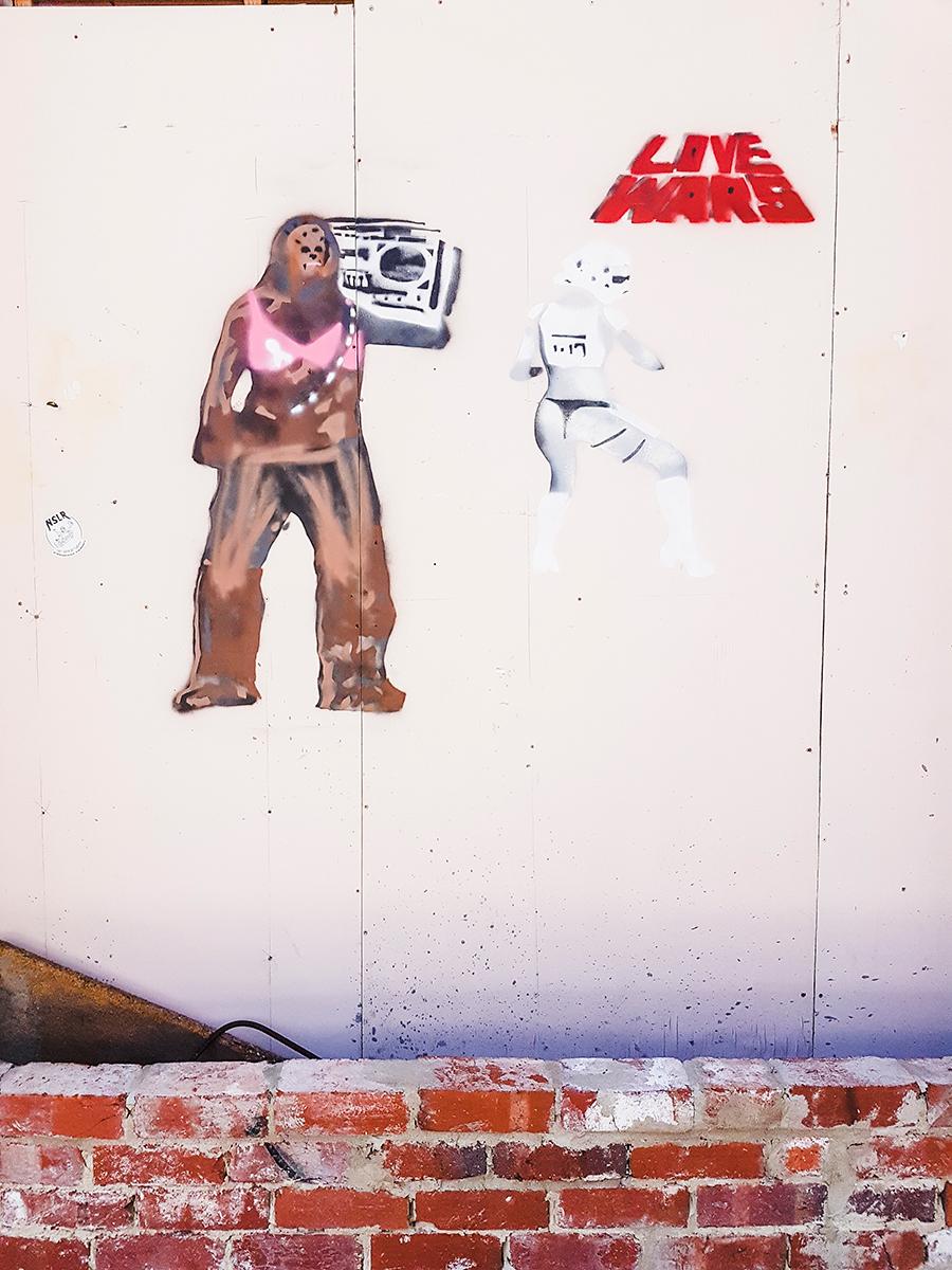Love Wars grafitti in Fremantle Perth Australia.