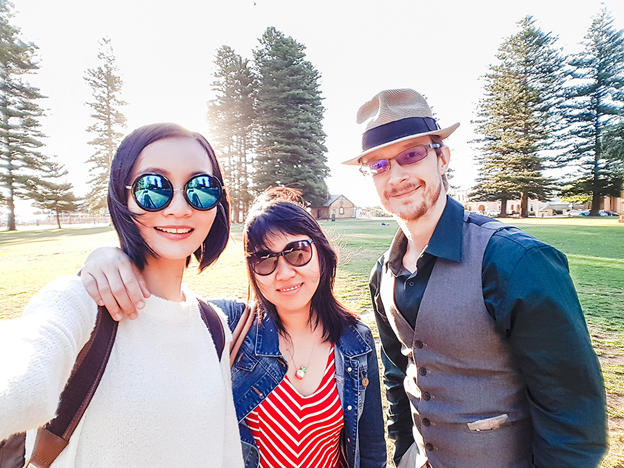 Sunset selfie with Kooling and Ottie at Fremantle Perth Australia.