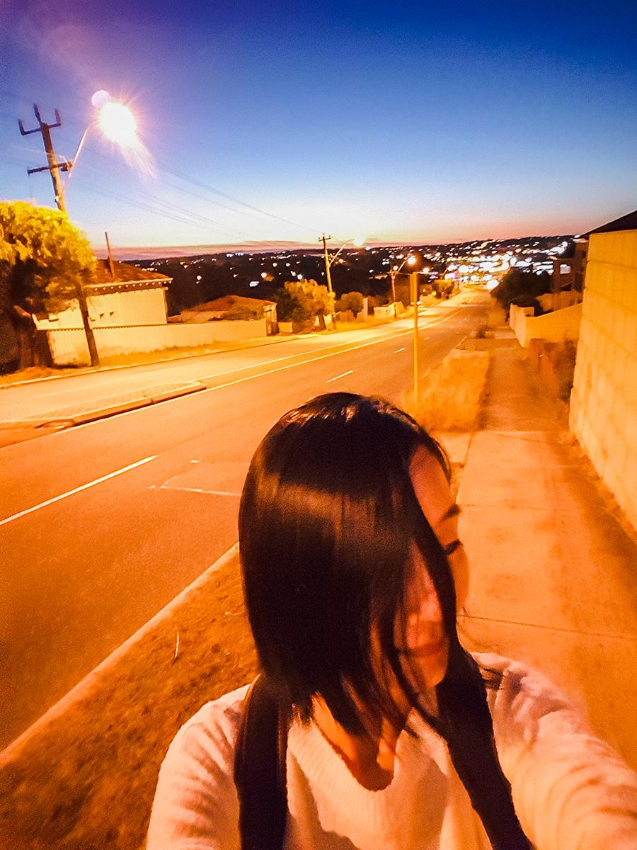 Selfie in front of a beautiful dusk sky in Perth Australia.