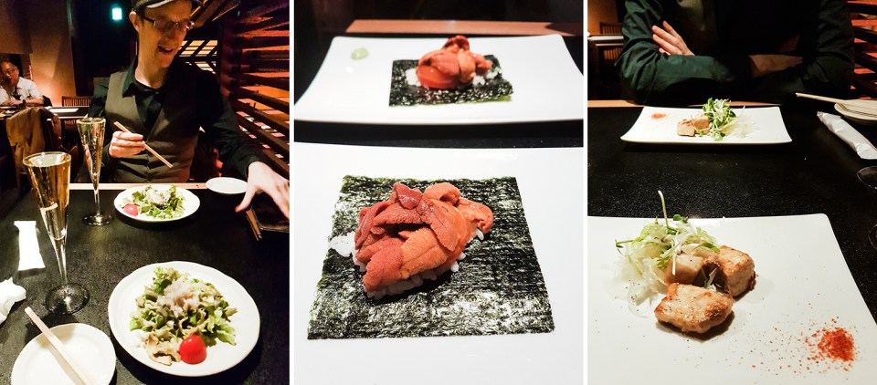 Teppanyaki Ten Lobster Course: Starters with a Crab Salad, Grilled Sea Urchin, and a Today's Recommendation (Catch-of-the-Day).