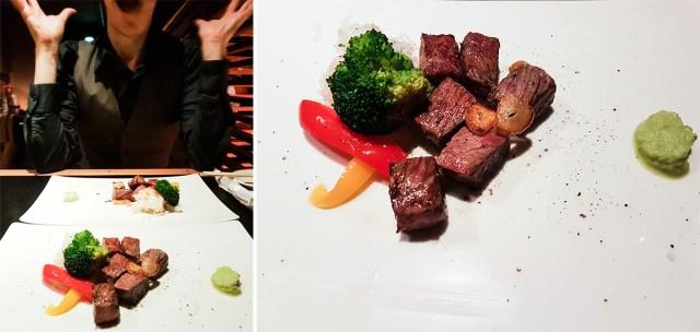 Teppanyaki Ten Lobster Course: Wagyu Sirloin Steak.