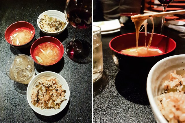 Teppanyaki Ten Lobster Course: Today's Rice and Miso Soup.