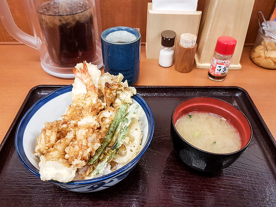All-star Tendon for dinner at Tendon Tenya in Tokyo.