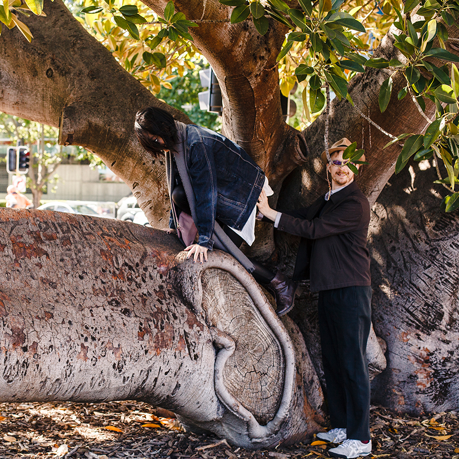 Outtake of Ottie pushing Ren up on a tree branch.