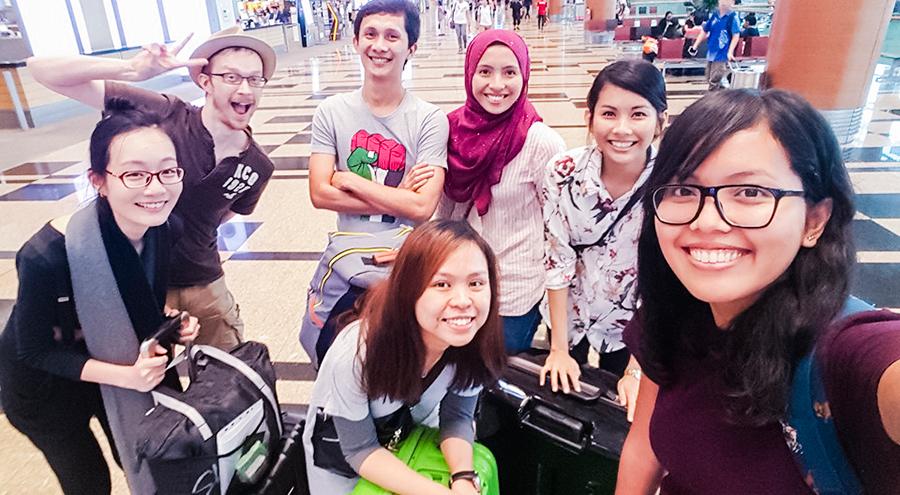 Friends and family sending me, Ruru, and Shasha off at Singapore Changi Airport. Photo by Shasha.