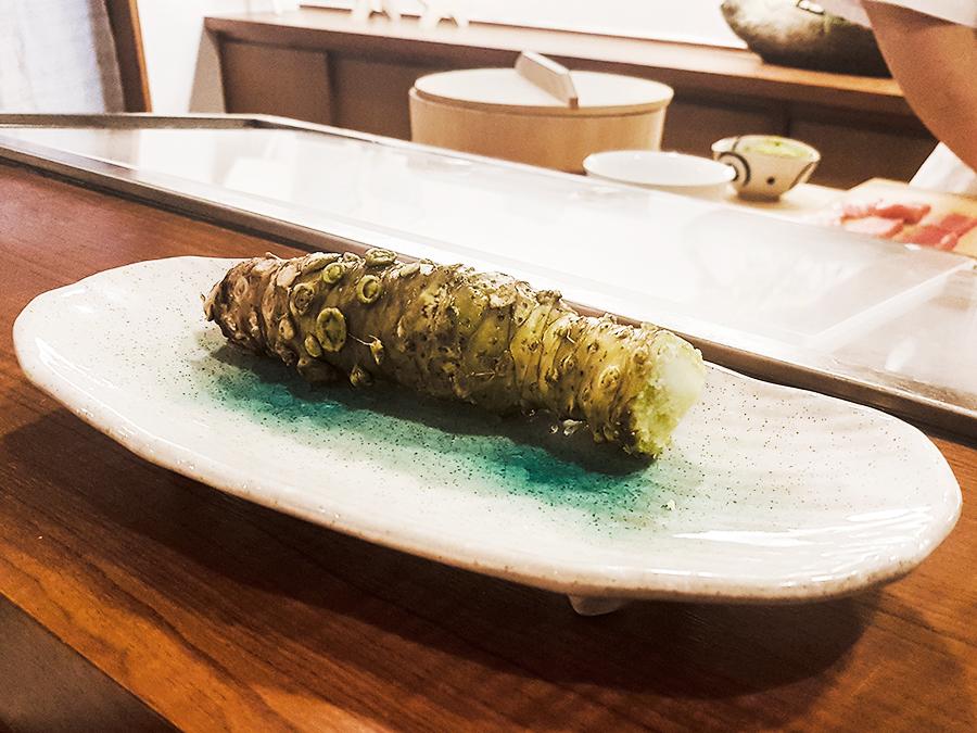 Wasabi root in Makoto Sushi.
