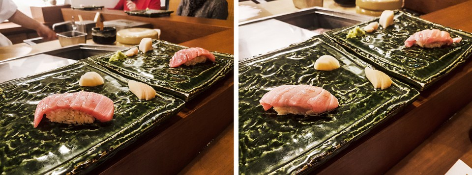 Bluefin tuna sushi and medium-fatty sushi