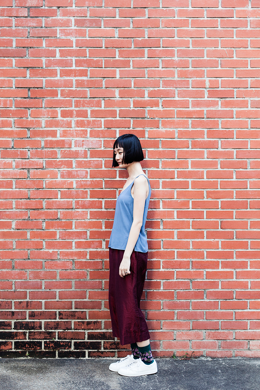Haircut by Reds Hairdressing: Topshop powder blue top, Max red shimmer pants, Paperplanes white sneakers.