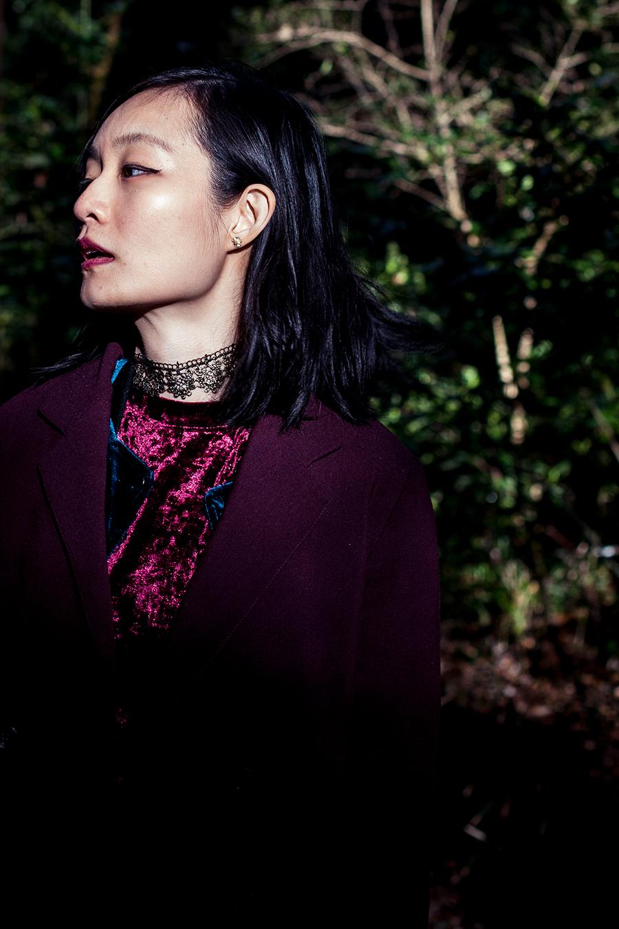 Forest portrait: vintage seashell earring, Shein velvet dress.