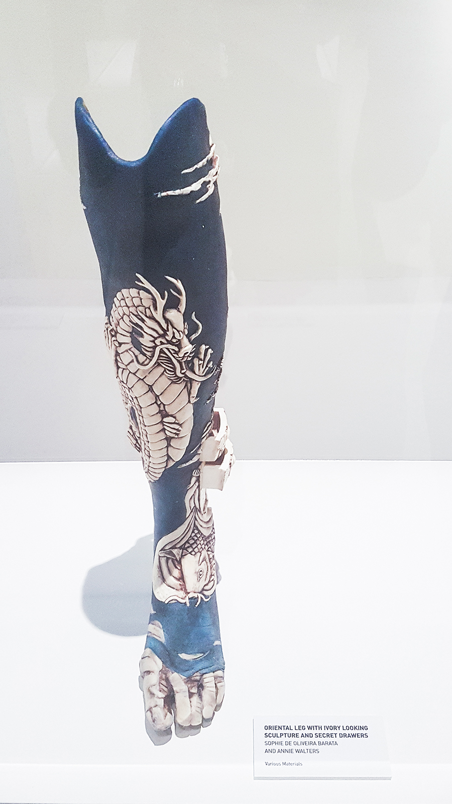 Intricate Prosthetic leg with drawer compartments by Sophie De Oliviera Barata and Annie Walters at the HUMAN+ The Future of Our Species exhibition, ArtScience Museum Singapore.