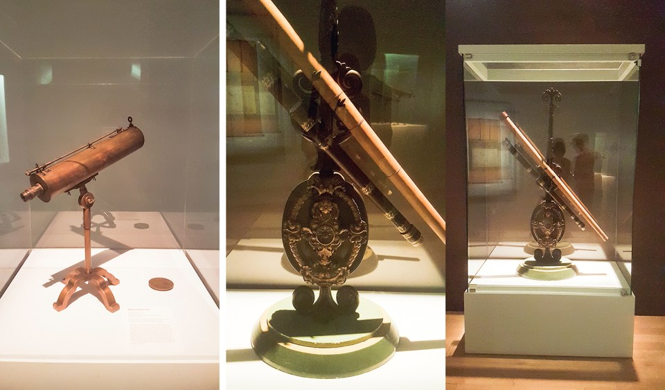 Replica of the Reflecting Telescope by Ikkansai Kunitomo and a replica of Galileo Galilei's telescope on display at the The Universe and Art: An Artistic Voyage Through Space exhibition, ArtScience Museum Singapore.