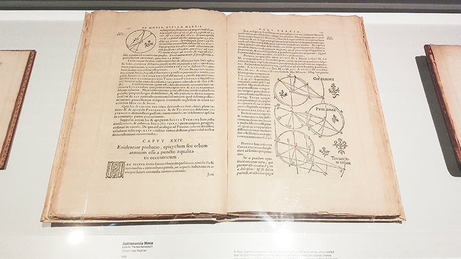 1609 first edition book of Astronomia Nova (The New Astronomy) by Johannes Kepler at the The Universe and Art: An Artistic Voyage Through Space exhibition, ArtScience Museum Singapore.