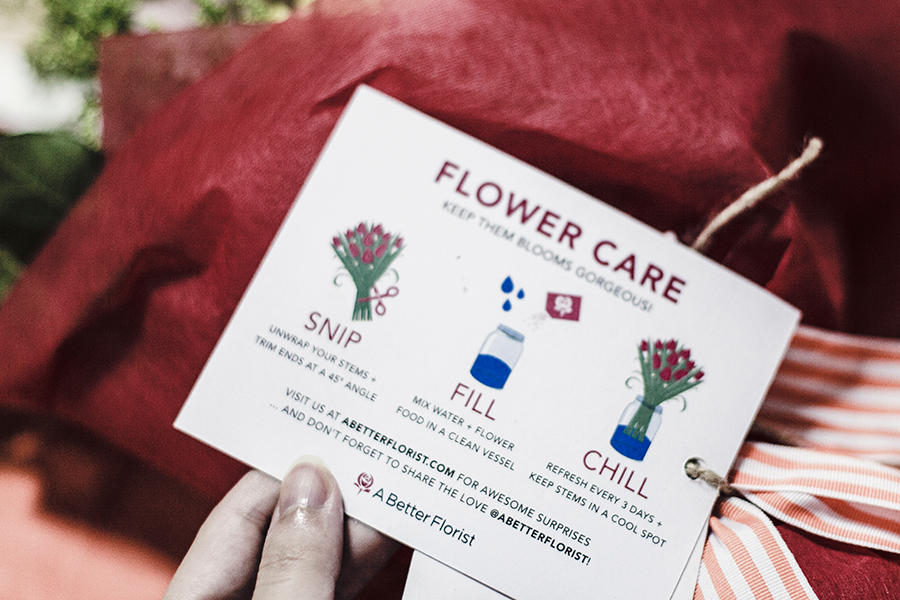 Flower Care card for The Sylvia flower bouquet from A Better Florist.