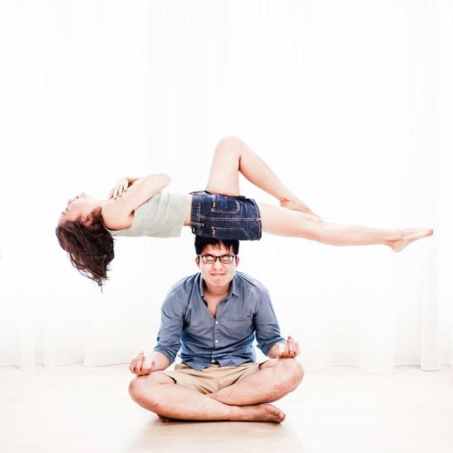 Levitation couple photo for a pre-wedding photoshoot, Singapore.