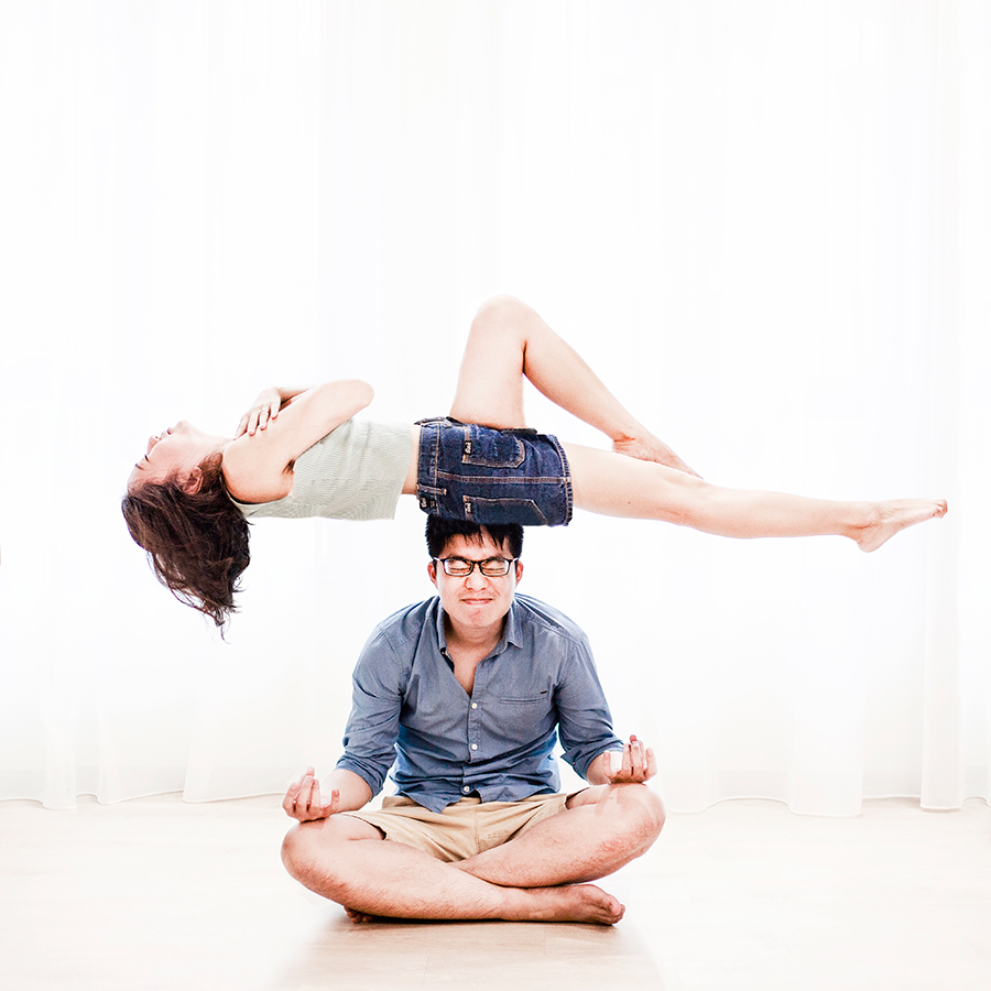 Levitation couple photo for a pre-wedding photoshoot, Singapore.