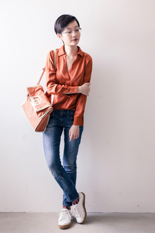 OOTD: Pomelo Fashion orange blouse, Espirit denim jeans, RAWROW convertible satchel, OWNDAYS glasses, Kurt Geiger leather espadrilles.