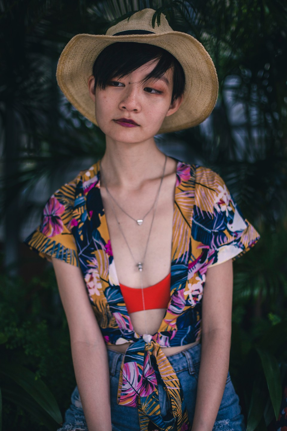 Zaful swim wrap kimono outfit, Billabong Love Myself Bralette Bikini Top, Aldo Cocia Necklace, CNDirect distressed denim shorts, Uniqlo UV straw hat.
