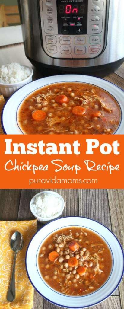 instant pot recipe for garbanzo bean soup in Costa Rican style