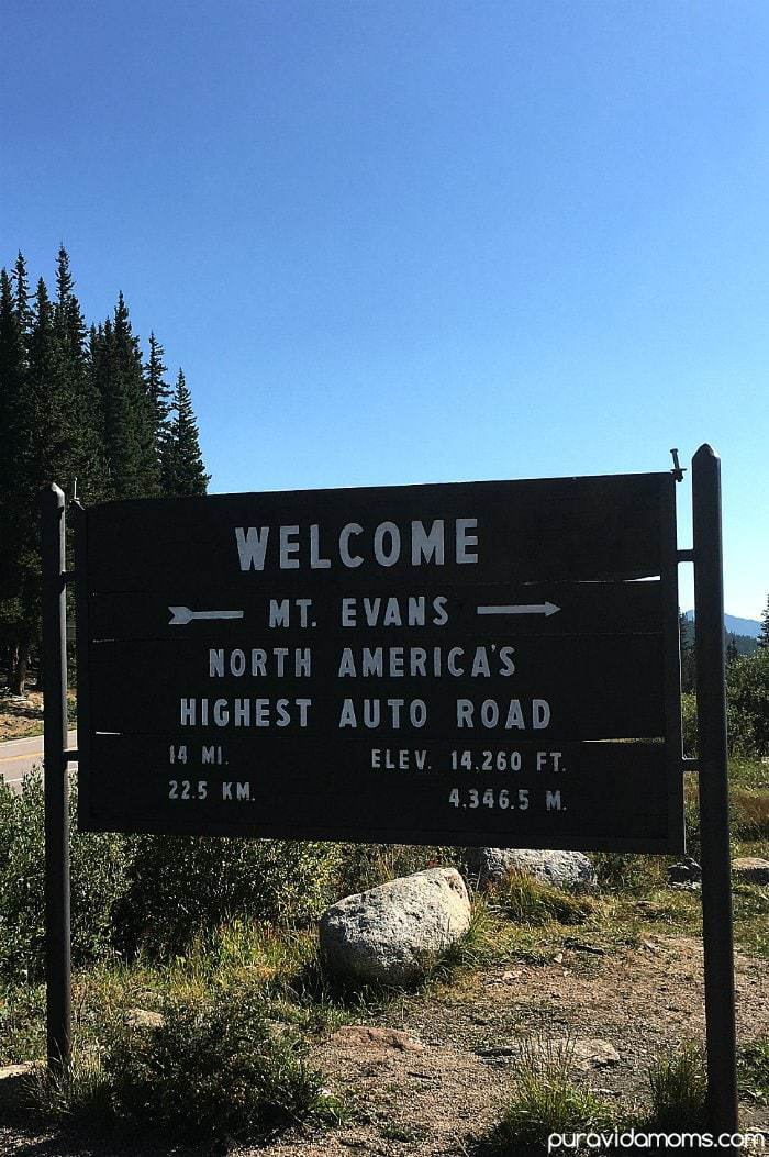 Mount Evans Colorado Welcome Sign