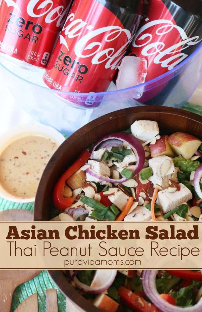 This delicious Asian inspired cabbage salad is so fresh and healthy! Cabbage, apples, green onions, romaine lettuce, carrots, slivered almonds and grilled chicken topped with the most delicious and healthy spicy Thai peanut dressing. It's the easiest healthy recipe for make ahead, dinner, or lunch on the go!