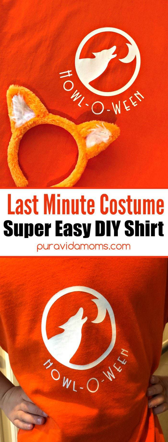 This cute and easyDIY Wolf Halloween Shirt takes almost no time to make and doubles as a Halloween costume. Get ready for Howl-O-Ween with this adorable and punny Wolf Halloween shirt. Just add wolf ears!