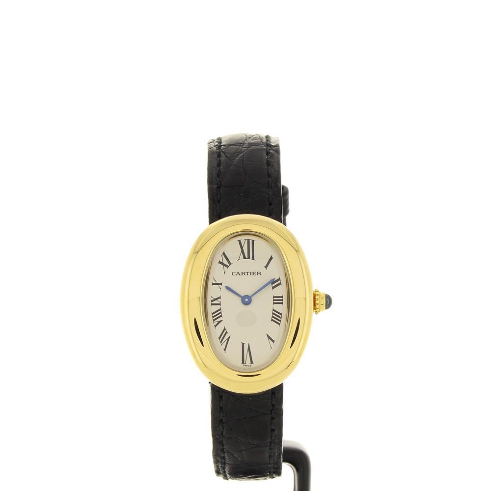 Montre Cartier Baignoire 1920 Or Jaune Et Bracelet Cuir