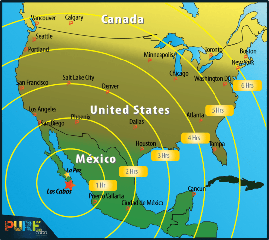 SJD Airport Map Travel Times to USA & Canada