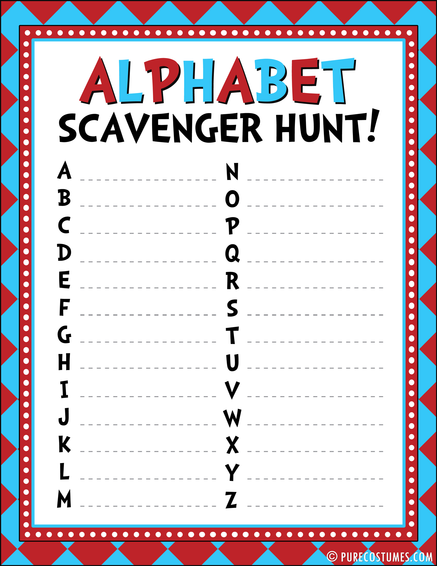 Scavenger Hunt Worksheet Letter K