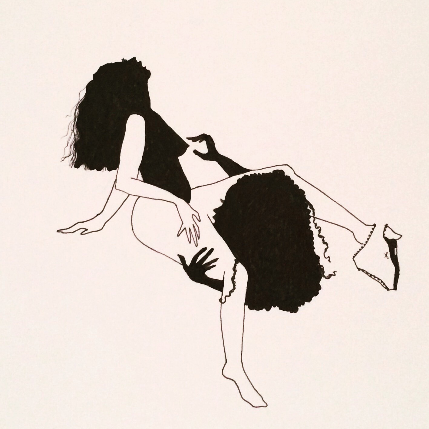 Hannah Kate Kelley - Lesbian Silhouette, pen and ink, 2016