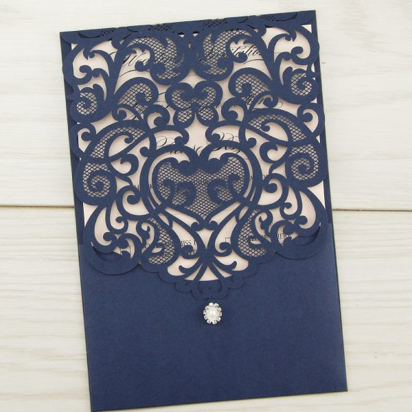 Navy Laser Cut Wedding Invitations Uk